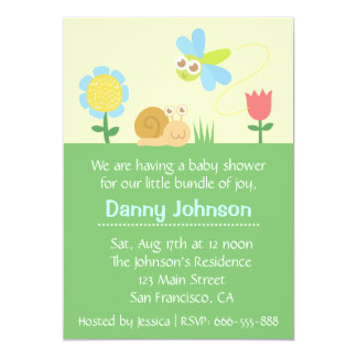 Baby Shower: Cute Dragonfly & Snail in a garden 5x7 Paper Invitation Card