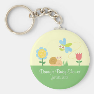Baby Shower: Cute Dragonfly & Snail in a garden Keychain