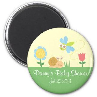 Baby Shower: Cute Dragonfly & Snail in a garden 2 Inch Round Magnet