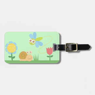 Baby Shower: Cute Dragonfly & Snail in a garden Travel Bag Tags