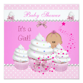 Baby Shower Cute Girl Pink Cupcake Sprinkle 5.25x5.25 Square Paper Invitation Card