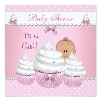 Baby Shower Cute Girl Pink Cupcake Sprinkle Custom Invitations