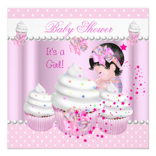 Baby Shower Cute Girl Pink Cupcake Sprinkle Personalized Invitations