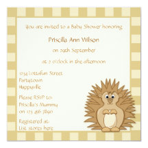 Baby Shower Cute Hedgehog Cartoon Animal Personalized Invitation