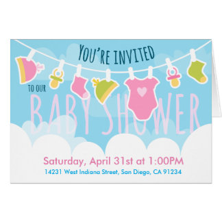 Baby Shower cute laundry Card