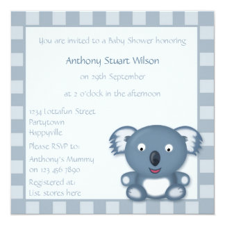 Baby Shower Cute Little Koala Bear Cartoon Card