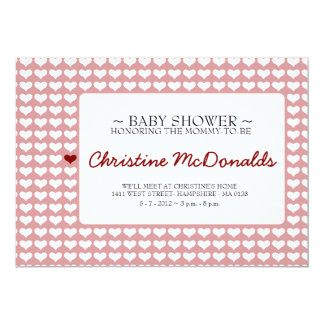 Baby shower cute little red white heart card