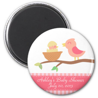 Baby Shower: Cute pink bird with just hatched baby 2 Inch Round Magnet