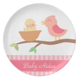 Baby Shower: Cute pink bird with just hatched baby Plate