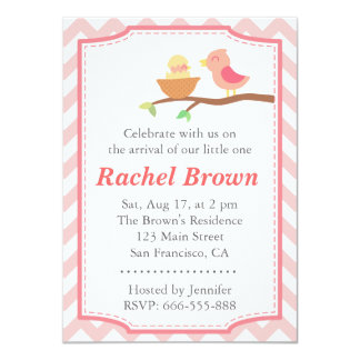 Baby Shower - Cute pink bird with newborn Card