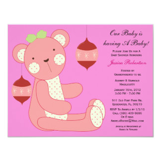 Baby Shower, Cute Teddy Bear with Ornaments, Card
