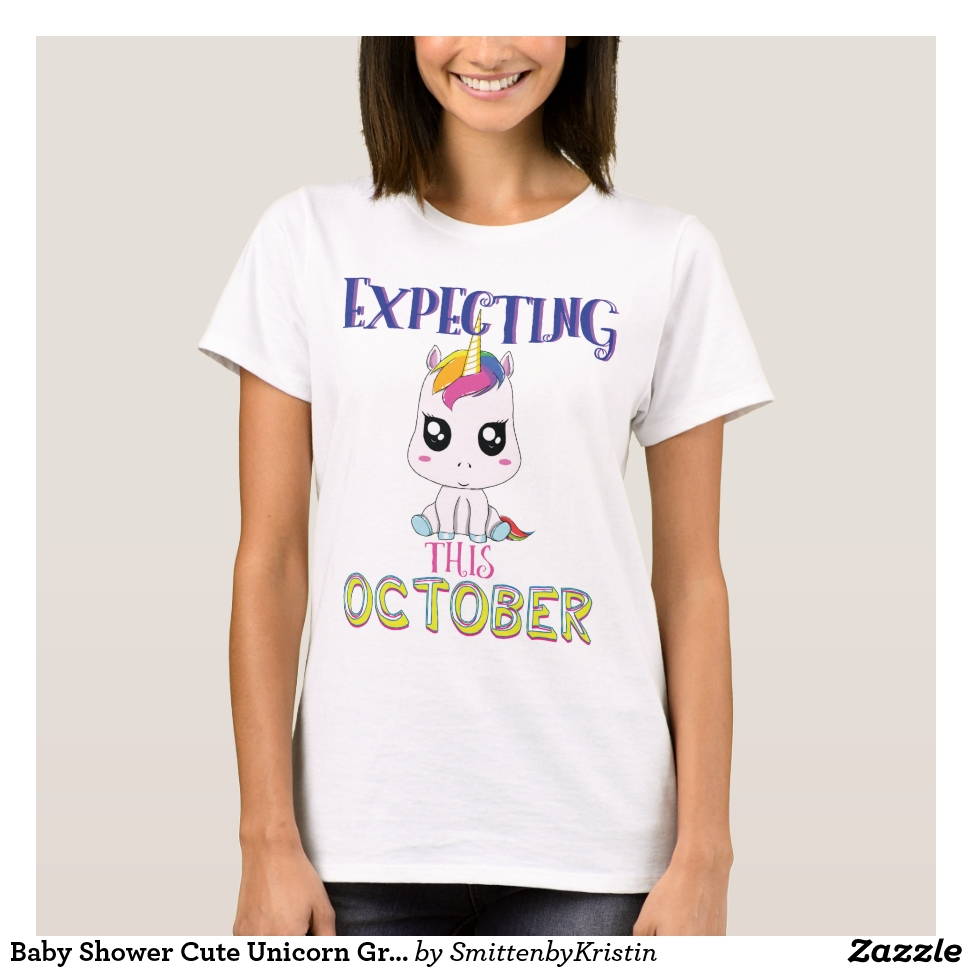 Baby Shower Cute Unicorn Graphic October T-Shirt - Best Selling Long-Sleeve Street Fashion Shirt Designs