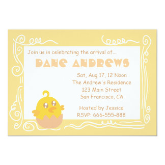 Baby Shower: Cute Yellow Baby Chick in Egg Shell Card