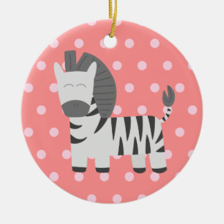 Baby Shower: Cute zebra with pink polka dots Ceramic Ornament