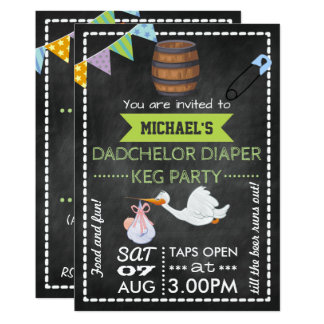 Baby Shower Dadchelor Keg Party Chalkboard Card