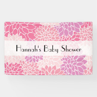 Baby Shower - Dahlia Flowers, Blossoms - Pink Banner