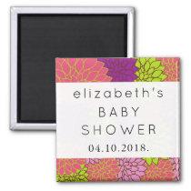 Baby Shower - Dahlia Flowers - Pink Purple Green Magnet