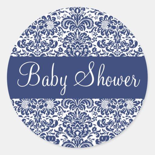baby shower damask envelope sticker seal zazzle