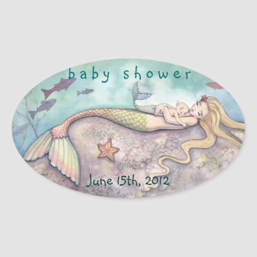 Baby Shower Date Stickers Mermaid and Baby