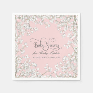 Baby Shower Decor Babys Breath Wreath Floral Napkin
