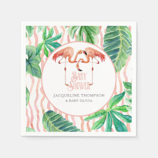 Baby Shower Decor Watercolor Pink Flamingo Leaf Napkin