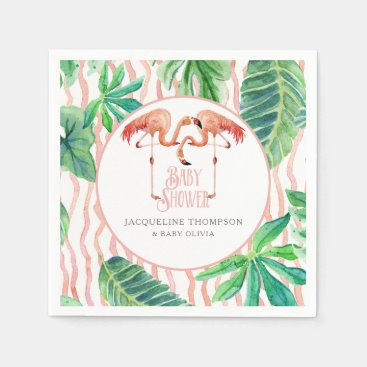 Toddler & Baby themed Baby Shower Decor Watercolor Pink Flamingo Leaf Napkin
