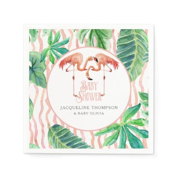 Beach Themed Baby Shower Decor Watercolor Pink Flamingo Leaf Napkin