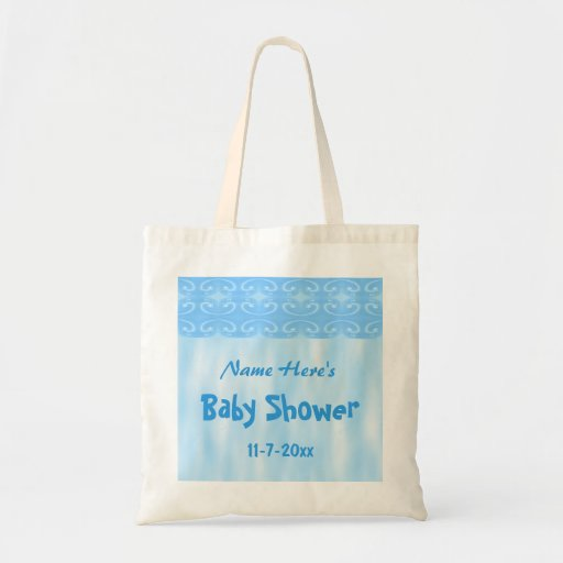 baby shower design in blue tote bag zazzle