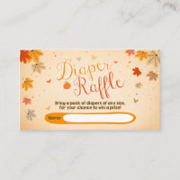 Baby Shower Diaper Raffle Card Fall Autumn Leaves