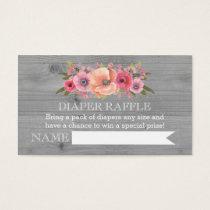 Baby Shower Diaper Raffle Card Rustic Wood Floral