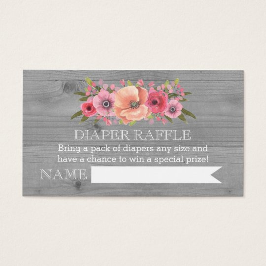 Baby Shower Diaper Raffle: Baby Shower Diaper Raffle Card Rustic Wood Floral