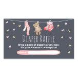 Baby Shower Diaper Raffle Card Teddy Bear Pink
