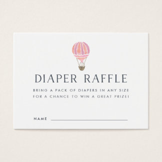 Baby Shower Diaper Raffle Cards | Pink Balloon