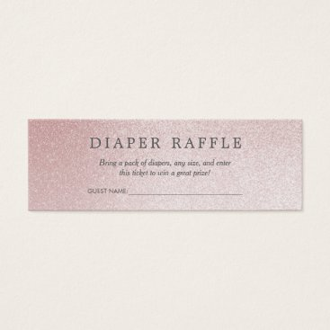 Toddler & Baby themed Baby Shower Diaper Raffle | Ombre Rose Glitter Mini Business Card