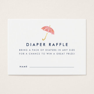 Baby Shower Diaper Raffle Ticket Cards | Coral