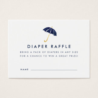 Baby Shower Diaper Raffle Ticket Cards | Navy