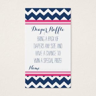 Baby Shower Diaper Raffle Ticket Chevron Blue Pink