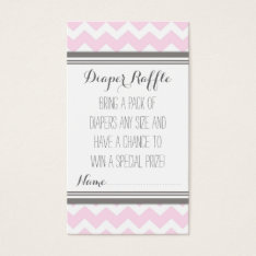 Baby Shower Diaper Raffle Ticket Chevron Pink Grey at Zazzle