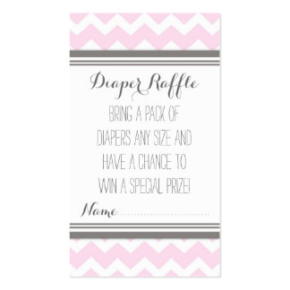 Baby Shower Diaper Raffle Ticket Chevron Pink Grey Business Card
