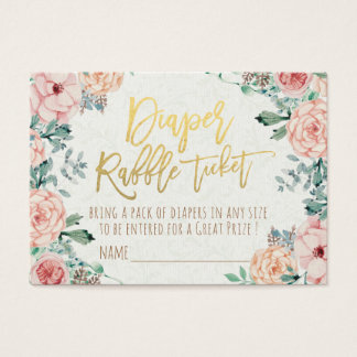 Baby Shower Diaper Raffle Ticket Watercolor Floral