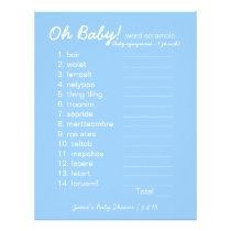 Baby Shower DIY - Word Scramble Game - blue Letterhead