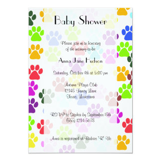 Baby Shower - Dog Paws, Paw-prints - Blue Green Card