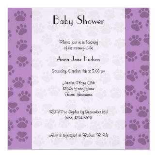 Baby Shower - Dog Paws, Paw-prints - Purple Card