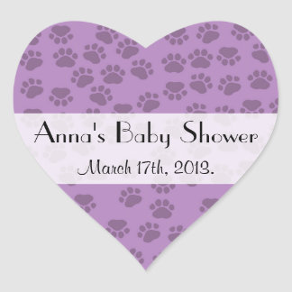 Baby Shower - Dog Paws, Paw-prints - Purple Heart Sticker