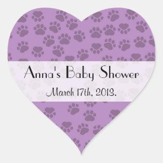 Baby Shower - Dog Paws, Paw-prints - Purple Heart Sticker