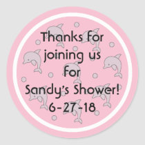 "Baby Shower ""Dolphins/Pink"" Stickers 1 1/2"" or 3"""