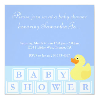 Baby Shower Duck Vertical 5.25x5.25 Square Paper Invitation Card
