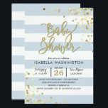 """Baby Shower   Elegant Gold Confetti &amp; Blue Stripes Card<br><div class=""""desc"""">Make your own &#39;Baby Shower   Elegant Gold Confetti &amp; Blue Stripes&#39; invitations now. This trendy design,  with adorable blue and white stripes,  faux gold gradient confetti and stylish typography is ready for you to start customizing now.</div>"""