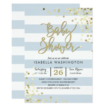 Baby Shower | Elegant Gold Confetti & Blue Stripes Card by Cali_Graphics at Zazzle