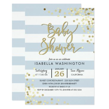 Toddler & Baby themed Baby Shower | Elegant Gold Confetti & Blue Stripes Card